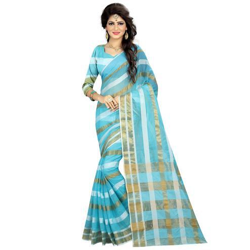 Adorable Sky Blue Colored Casual Wear Silk Saree