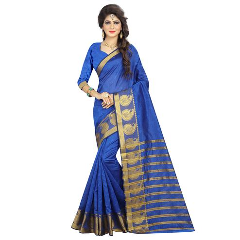 Graceful Blue Colored Festive Wear Woven Silk Saree