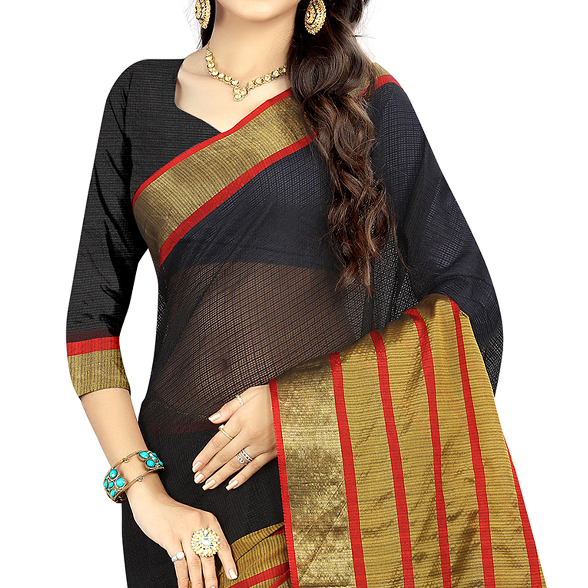 Jazzy Black Colored Casual Wear Silk Saree
