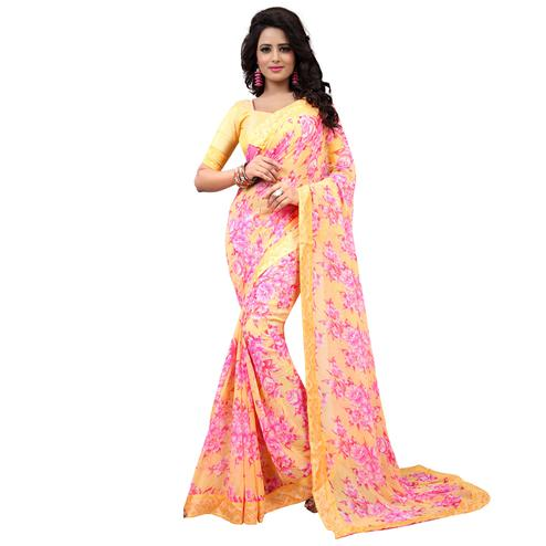 Captivating Yellow Colored Casual Printed Georgette Saree