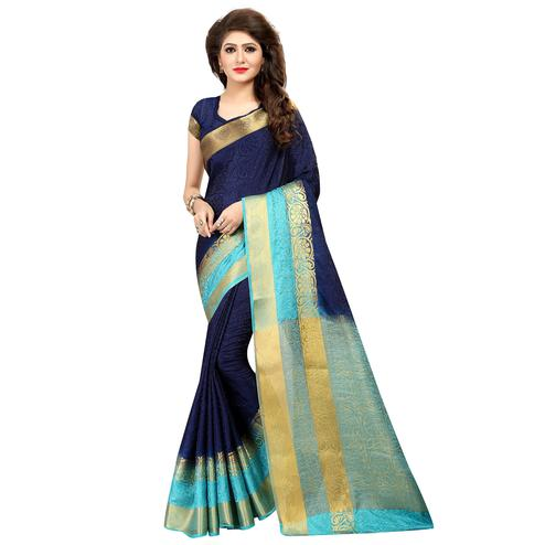 Fantastic Navy Blue Colored Festive Wear Cotton Silk Saree