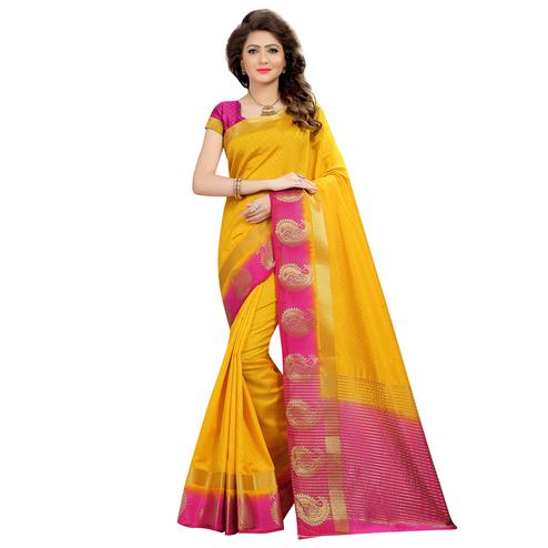 Amazing Yellow Colored Festive Wear Woven Cotton Silk Saree