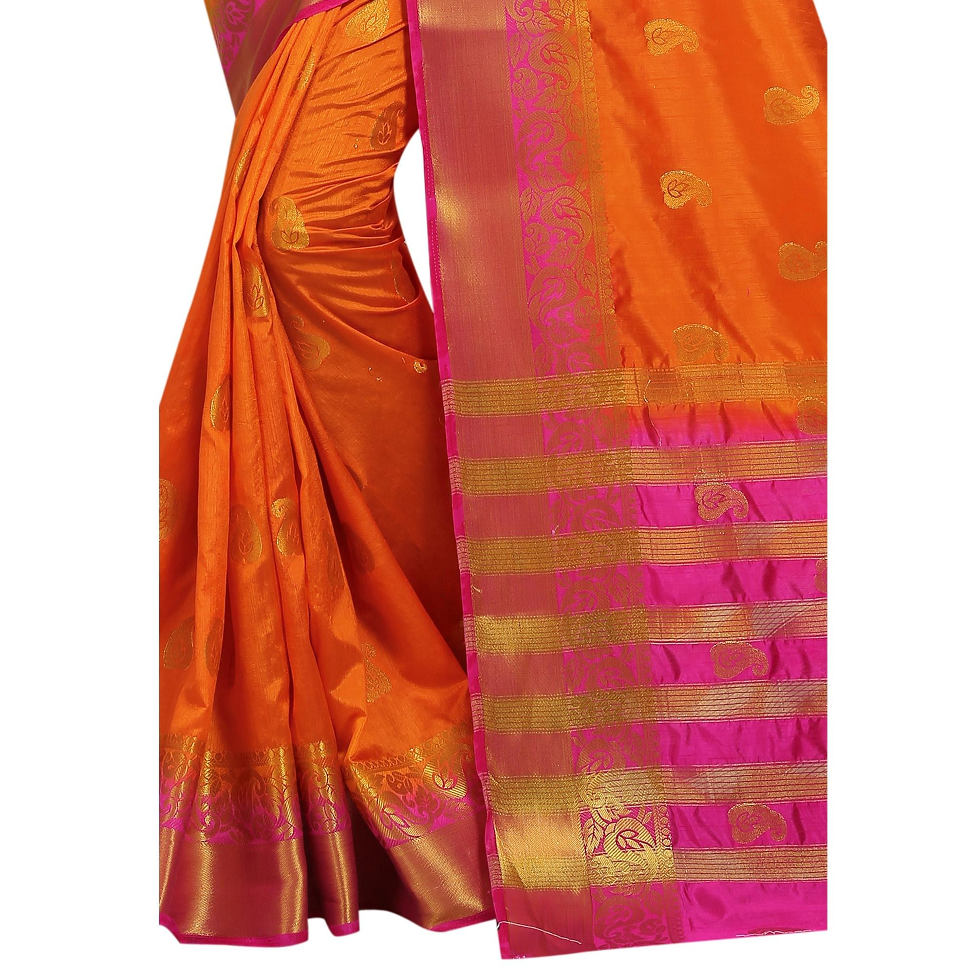 Gorgeous Orange Colored Festive Wear Woven Cotton Silk Saree