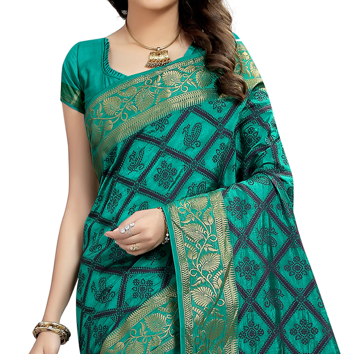 Blissful Turquoise green Colored Festive Wear Woven Cotton Silk Saree