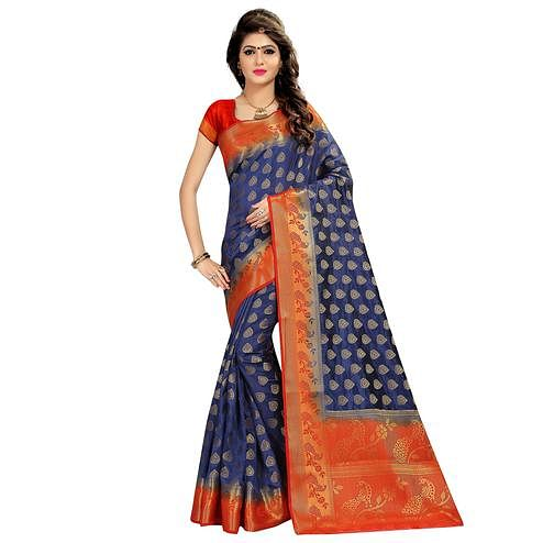 Ideal Navy Blue Colored Festive Wear Woven Cotton Silk Saree