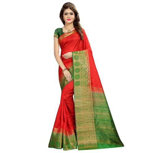 Imposing Red Colored Festive Wear Woven Cotton Silk Saree