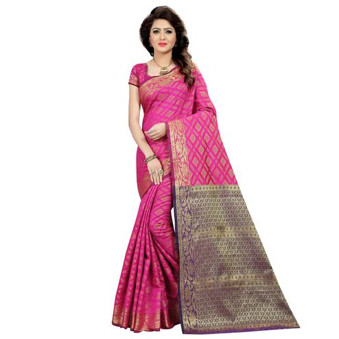 Impressive Pink Colored Festive Wear Woven Cotton Silk Saree