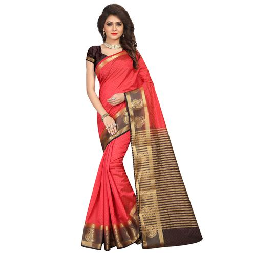 Breathtaking Red Colored Festive Wear Woven Cotton Silk Saree
