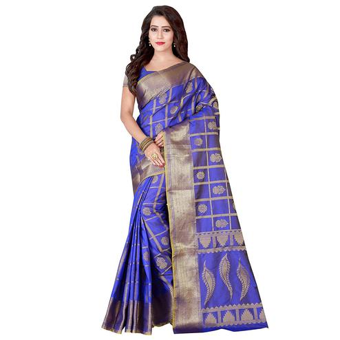 Dazzling Blue Colored Festive Wear Woven Jacquard Silk Saree