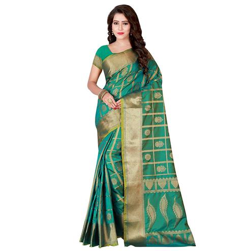 Surpassing Turquoise Green Colored Festive Wear Woven Jacquard Silk Saree