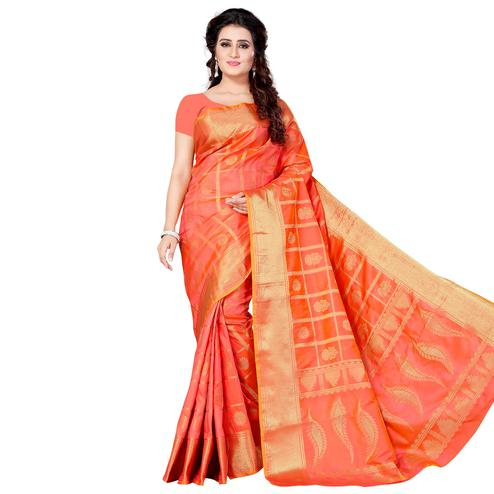 Glorious Peach Colored Festive Wear Woven Jacquard Silk Saree