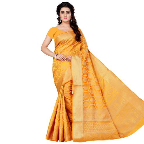 Attractive Mustard Yellow Colored Festive Wear Woven Jacquard Silk Saree