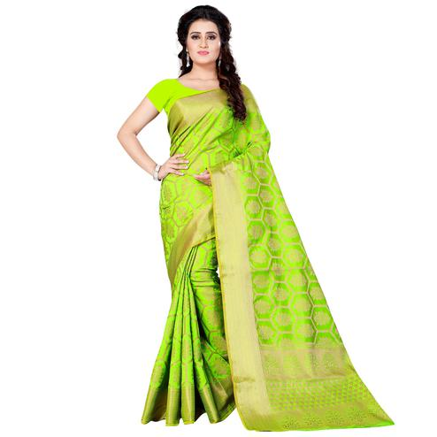 Blooming Green Colored Festive Wear Woven Jacquard Silk Saree