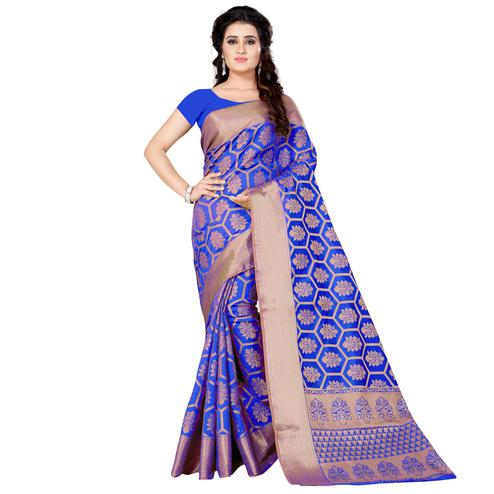 Charming Blue Colored Festive Wear Woven Jacquard Silk Saree