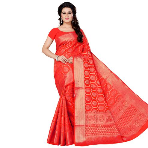 Delightful Red Colored Festive Wear Woven Jacquard Silk Saree