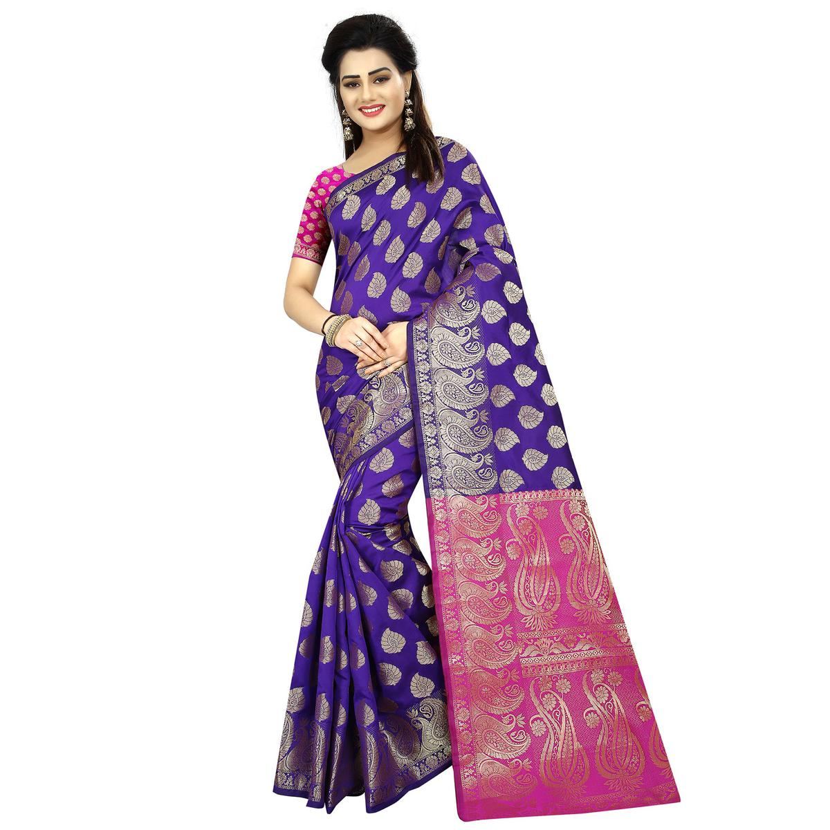 Engrossing Purple Colored Festive Wear Woven Jacquard Art Silk Saree