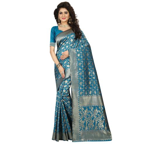 Innovative Rama Blue Colored Festive Wear Woven Jacquard Art Silk Saree