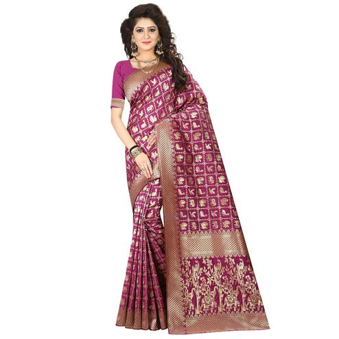 Eye-catching Magenta Pink Colored Festive Wear Woven Jacquard Art Silk Saree