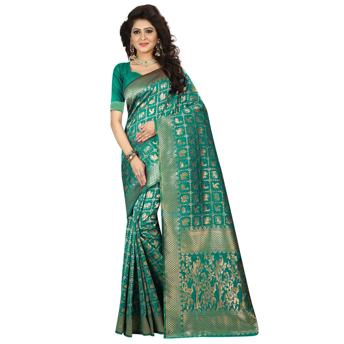 Lovely Green Colored Festive Wear Woven Jacquard Art Silk Saree