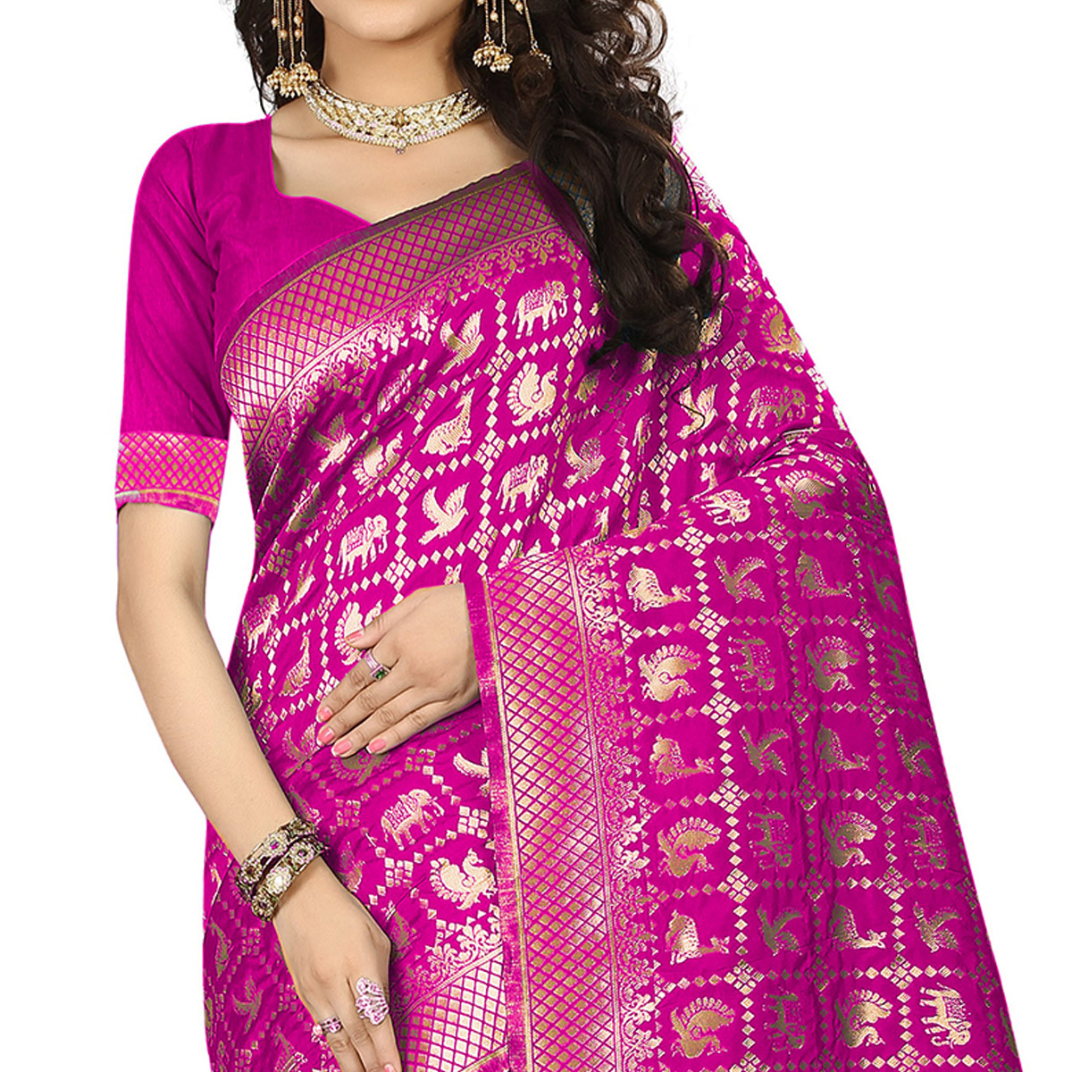 Majesty Pink Colored Festive Wear Woven Jacquard Art Silk Saree