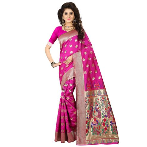 Mesmerising Pink Colored Festive Wear Woven Jacquard Art Silk Saree