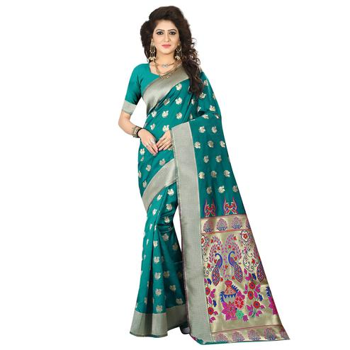 Pleasance Turquoise Green Colored Festive Wear Woven Jacquard Art Silk Saree
