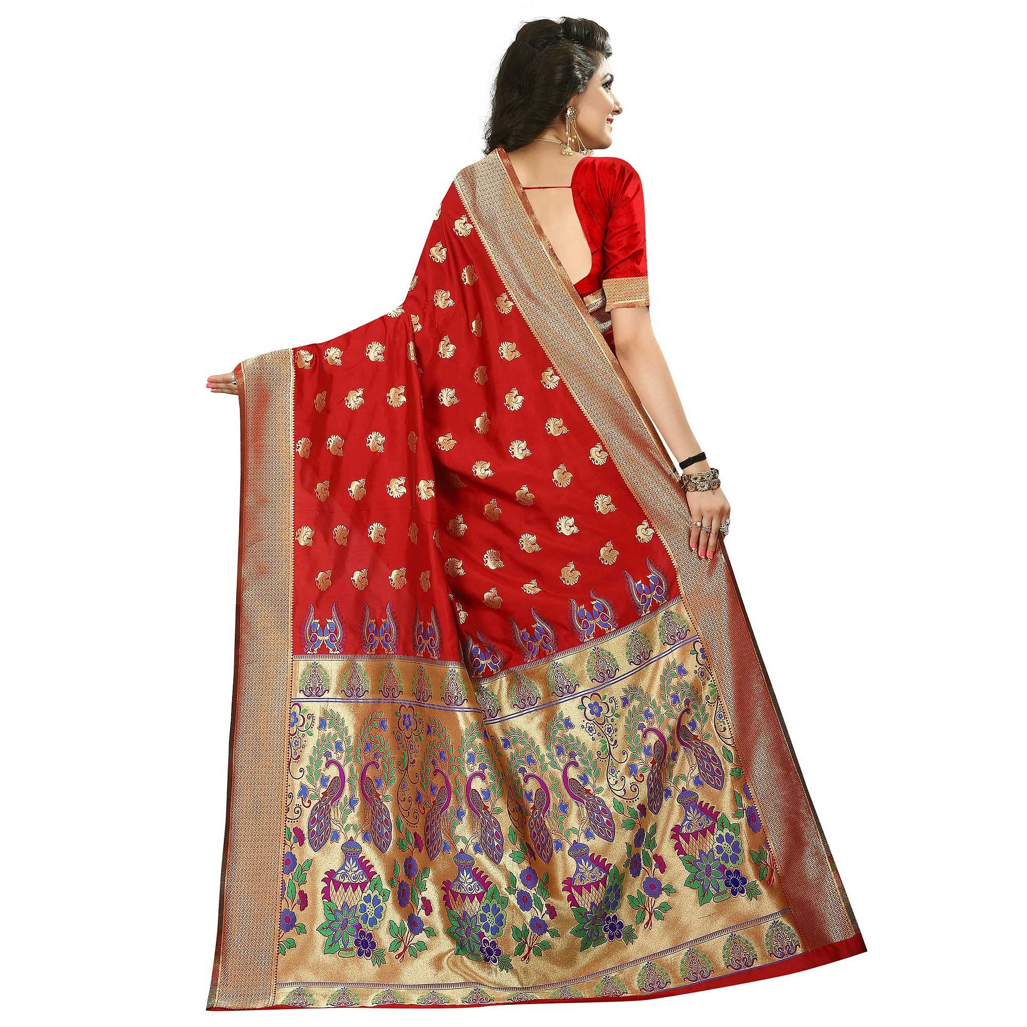 Ravishing Red Colored Festive Wear Woven Jacquard Art Silk Saree
