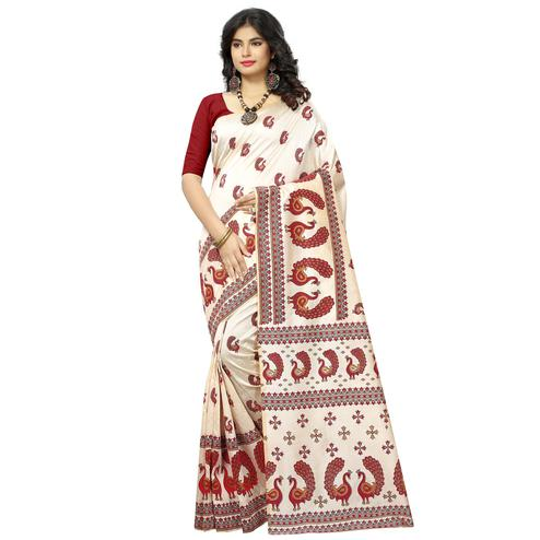 Staring Off White-Red Colored Casual Printed Bhagalpuri Silk Saree