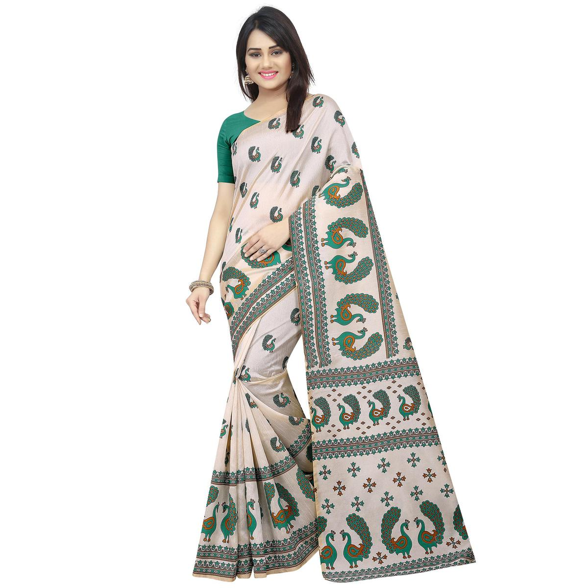 Intricate Off White-Green Colored Casual Printed Bhagalpuri Silk Saree