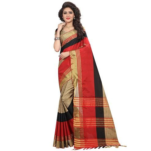 Sophisticated Beige-Red Colored Casual Wear Silk Saree