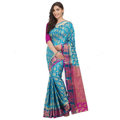 Radiant Firozi Colored Festive Wear Woven Cotton Silk Saree
