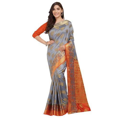 Pleasant Gray Colored Festive Wear Woven Cotton Silk Saree
