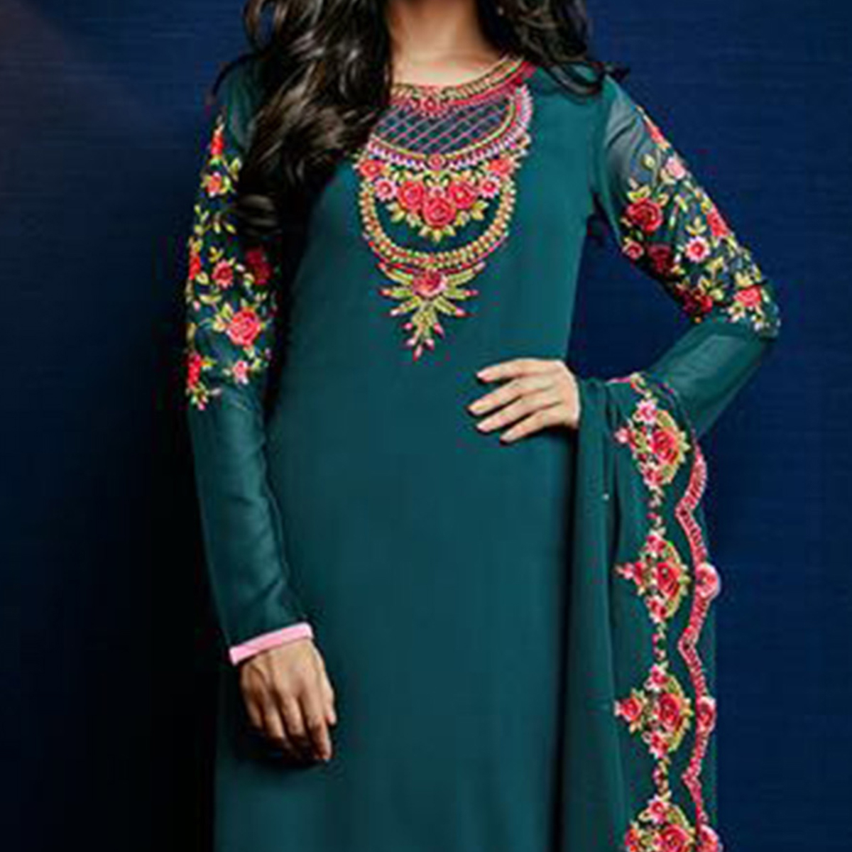 Rama Green Festive Wear Salwar Suit