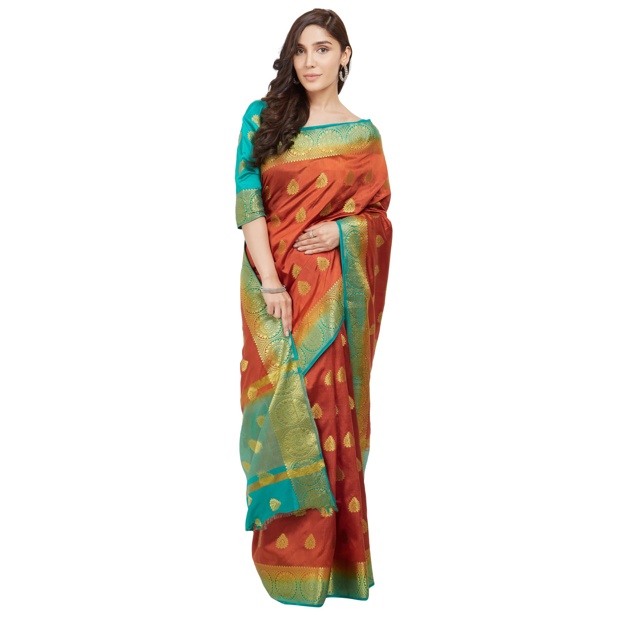Glowing Orange-Rama Blue Colored Festive Wear Woven Cotton Silk Saree