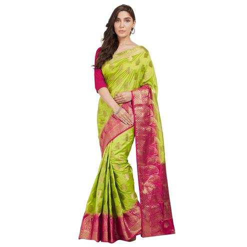 Exceptional Green Colored Festive Wear Woven Cotton Silk Saree