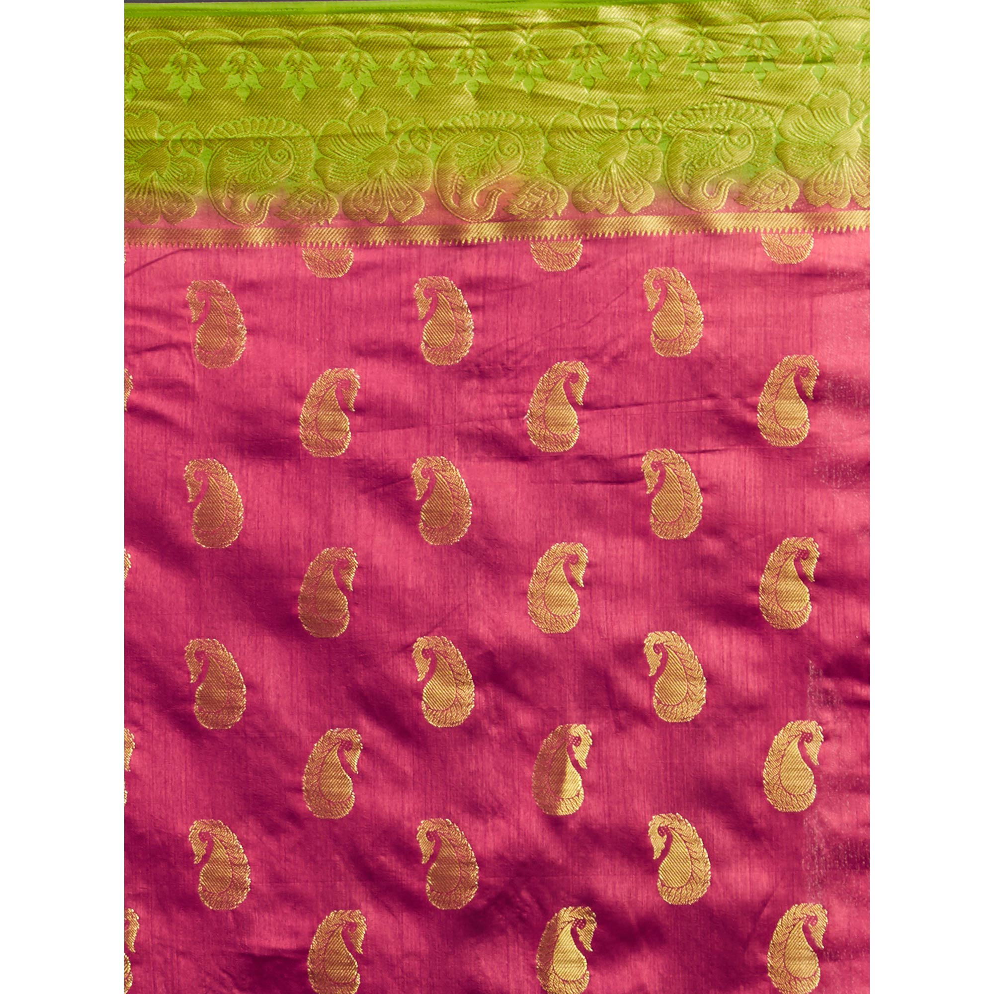 Gleaming Pink Colored Festive Wear Woven Cotton Silk Saree
