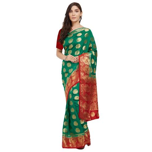 Mesmeric Turquoise Green Colored Festive Wear Woven Cotton Silk Saree