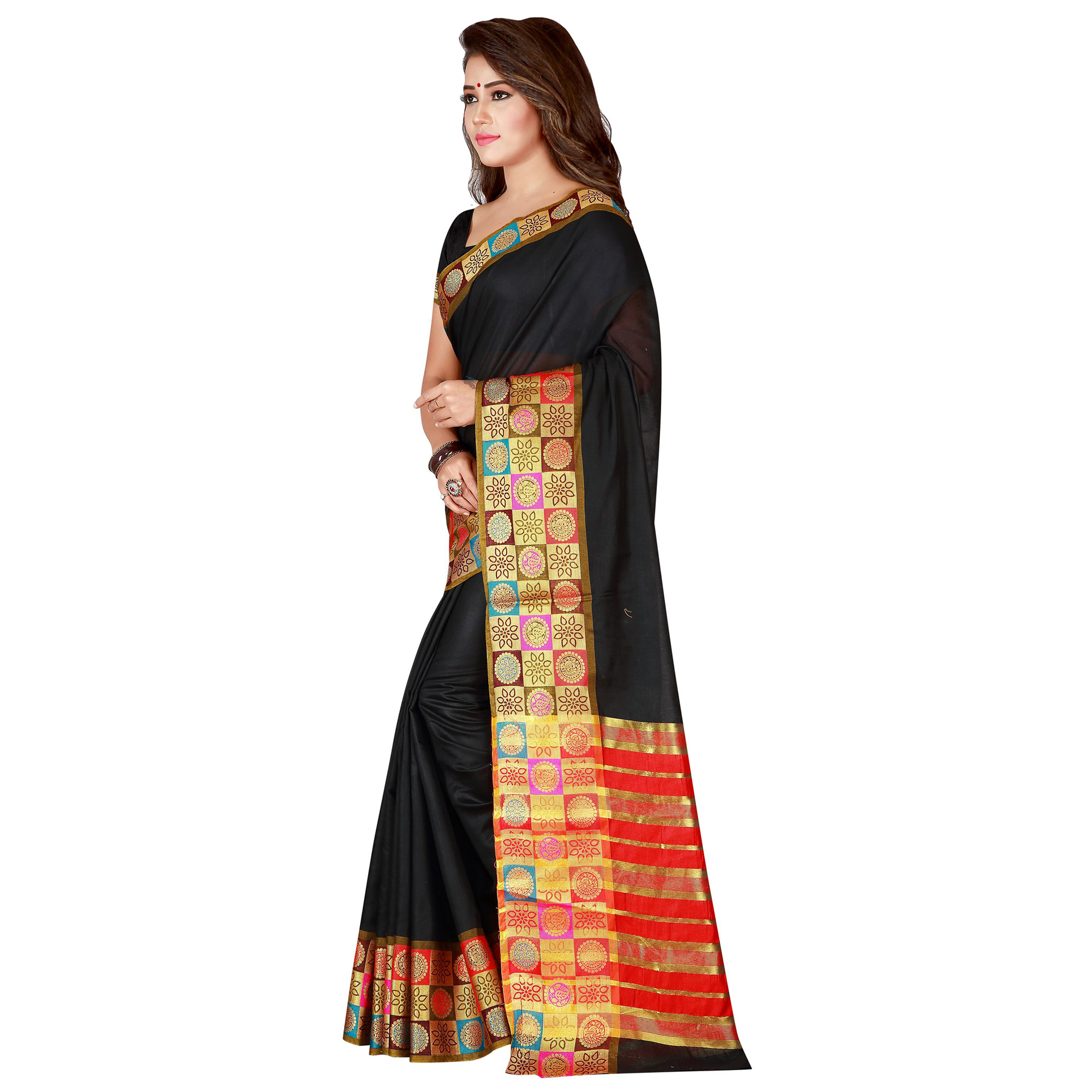 Refreshing Black Colored Festive Wear Woven Pure Cotton Saree