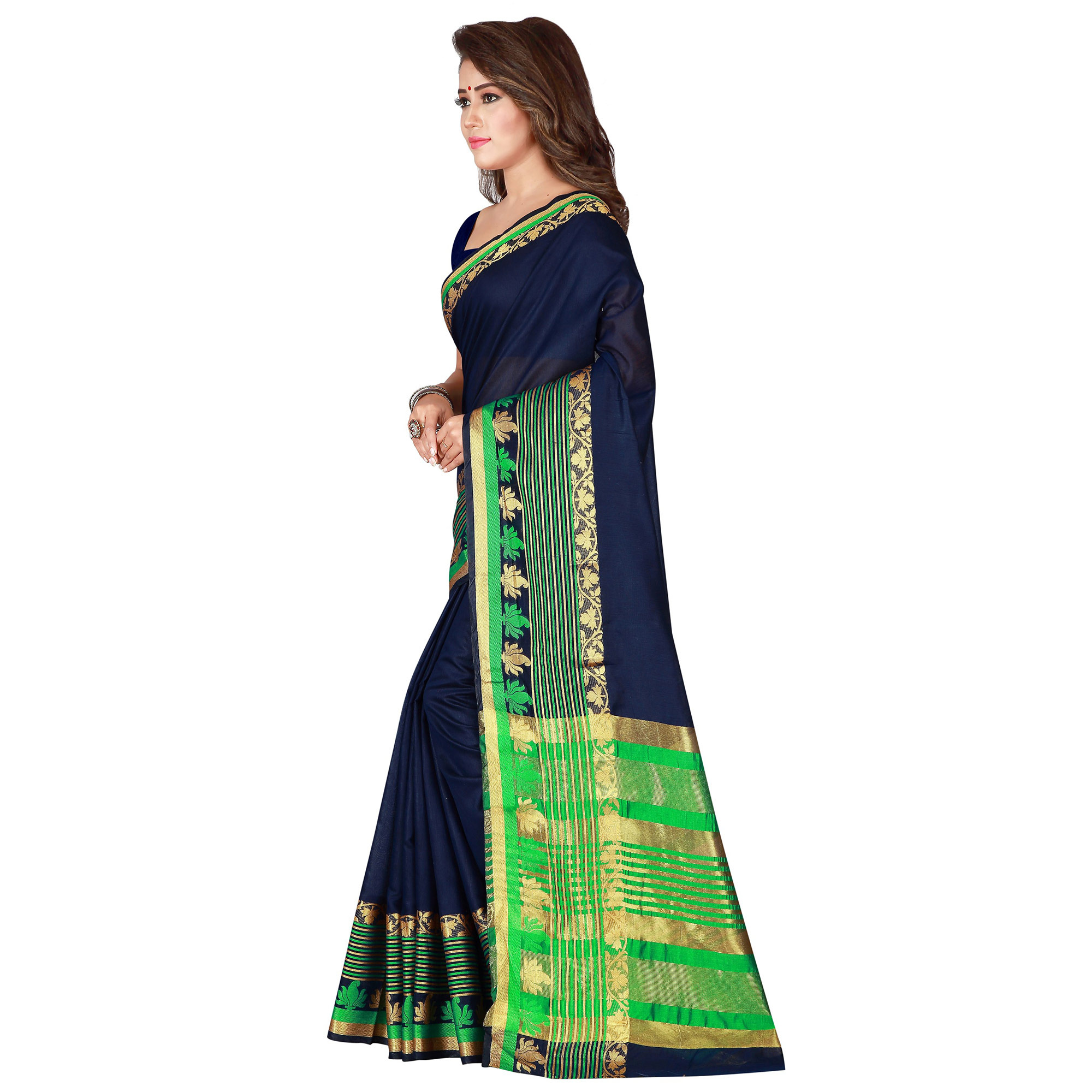 Magnetic Navy Blue Colored Festive Wear Woven Pure Cotton Saree