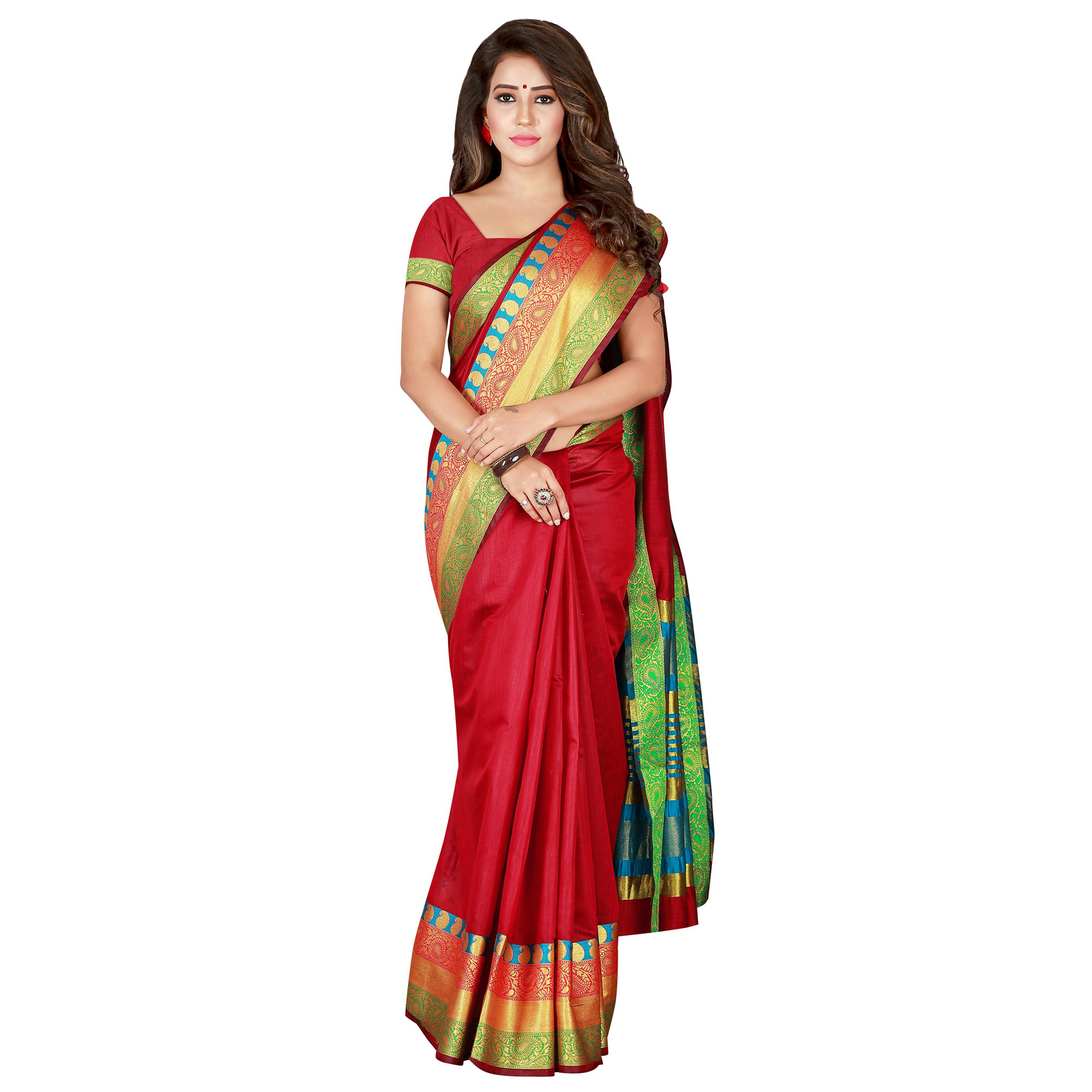 Hypnotic Maroon Colored Festive Wear Woven Pure Cotton Saree