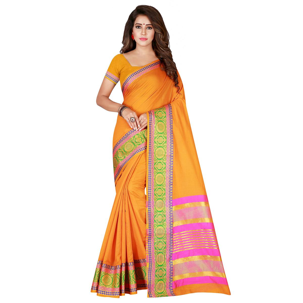 Flattering Mustard Yellow Colored Festive Wear Woven Pure Cotton Saree