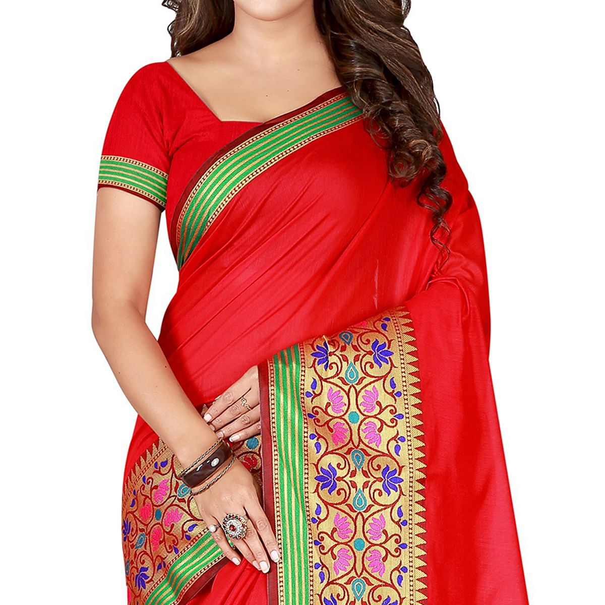 Excellent Red Colored Festive Wear Woven Pure Cotton Saree