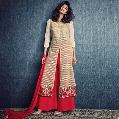 Beige Party Wear Palazzo Suit