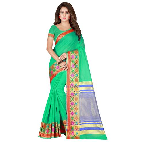 Preferable Sea Green Colored Festive Wear Woven Pure Cotton Saree