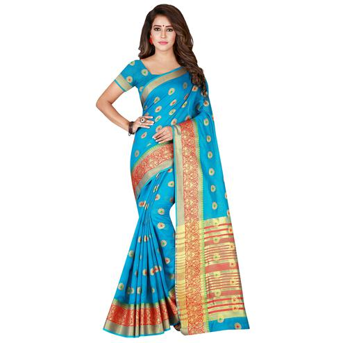 Marvellous Firozi Colored Festive Wear Woven Pure Cotton Saree