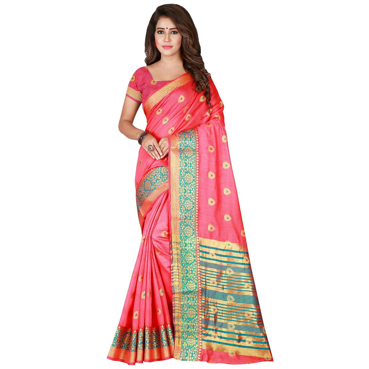 Flamboyant Pink Colored Festive Wear Woven Pure Cotton Saree