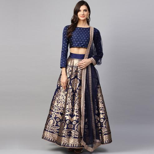 Flamboyant Navy Blue Colored Partywear Printed Banarasi Silk Lehenga