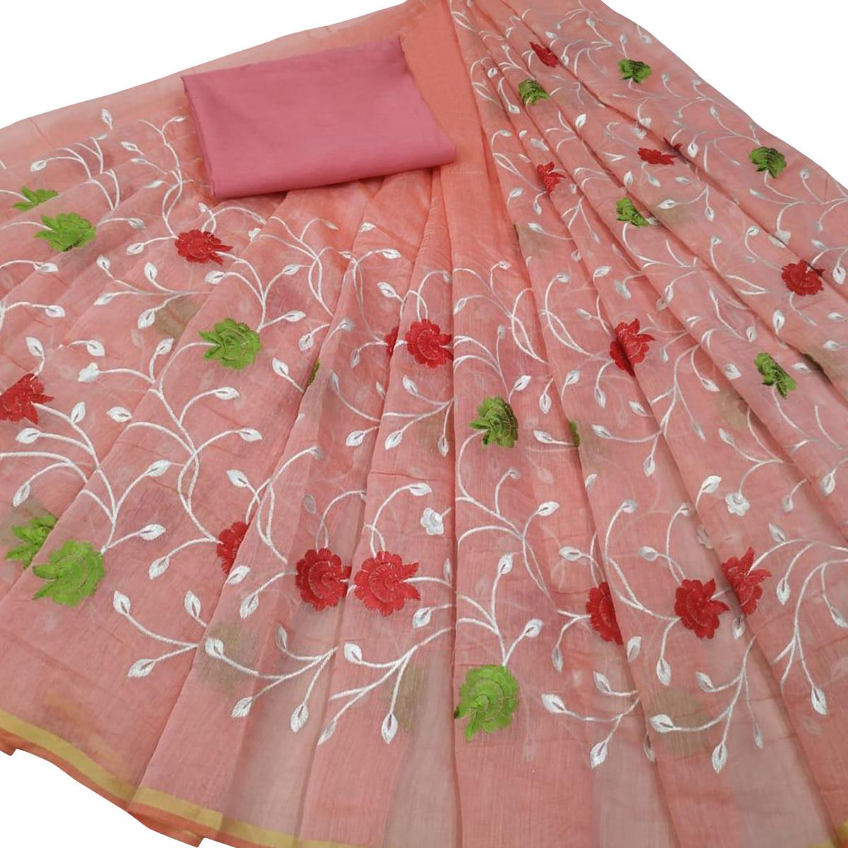 Hypnotic Pink Colored Partywear Embroidered Modal Saree