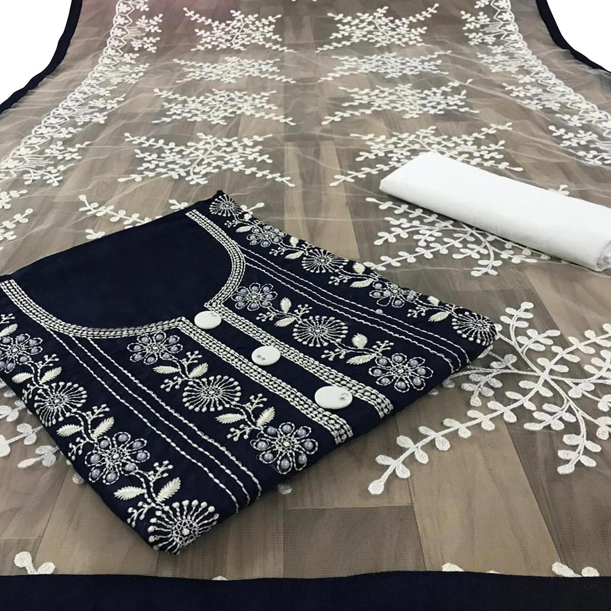 Pretty Navy Blue Colored Partywear Embroidered Cotton Dress Material