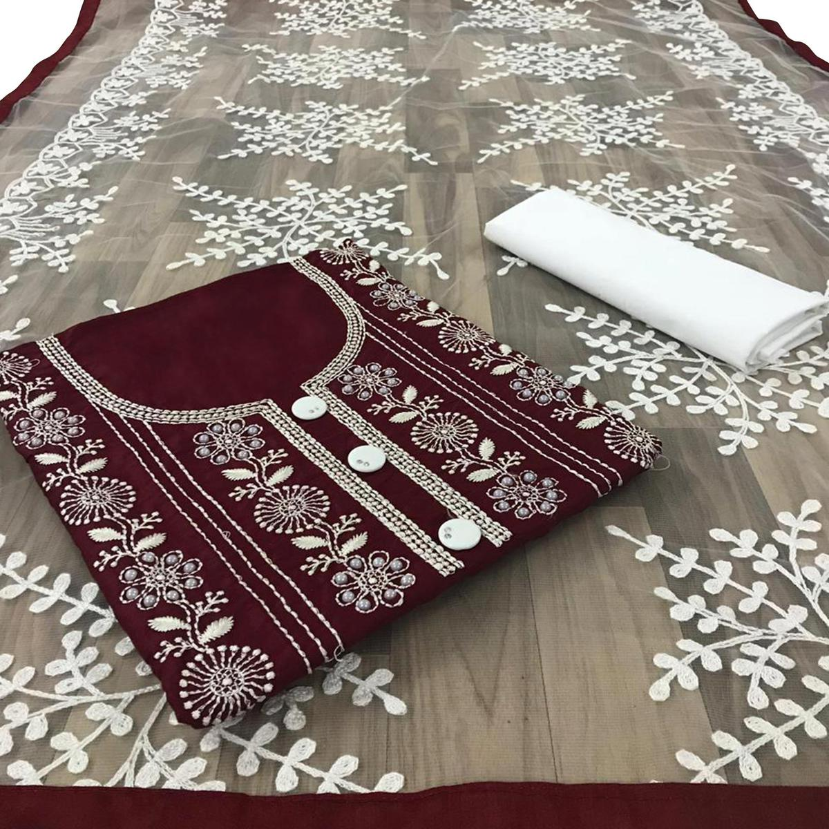 Alluring Maroon Colored Partywear Embroidered Cotton Dress Material